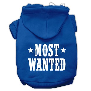 Most Wanted Screen Print Pet Hoodies Blue Size XS (8)