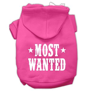 Most Wanted Screen Print Pet Hoodies Bright Pink Size Sm (10)