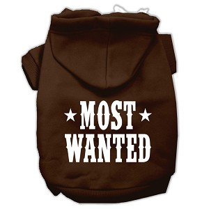 Most Wanted Screen Print Pet Hoodies Brown Size Med (12)