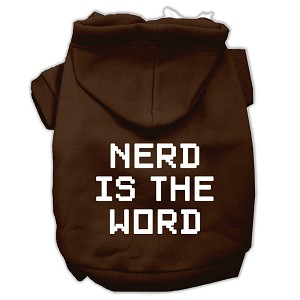 Nerd is the Word Screen Print Pet Hoodies Brown Size L (14)