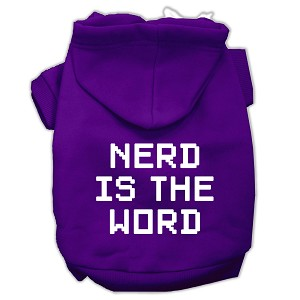 Nerd is the Word Screen Print Pet Hoodies Purple Size XS (8)