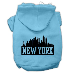 New York Skyline Screen Print Pet Hoodies Baby Blue Size Lg (14)