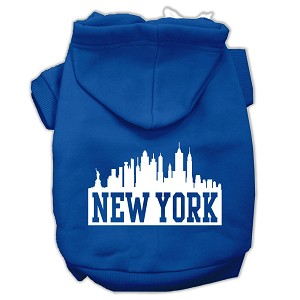 New York Skyline Screen Print Pet Hoodies Blue Size Lg (14)