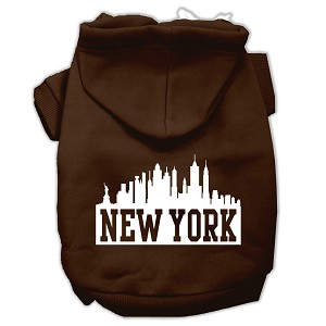 New York Skyline Screen Print Pet Hoodies Brown Size XXXL (20)