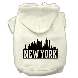 New York Skyline Screen Print Pet Hoodies Cream Size XXL (18)