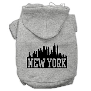 New York Skyline Screen Print Pet Hoodies Grey Size XXL (18)
