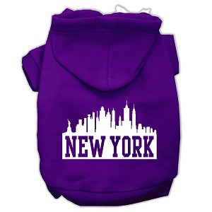 New York Skyline Screen Print Pet Hoodies Purple Size Sm (10)