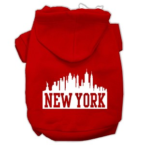 New York Skyline Screen Print Pet Hoodies Red Size Lg (14)
