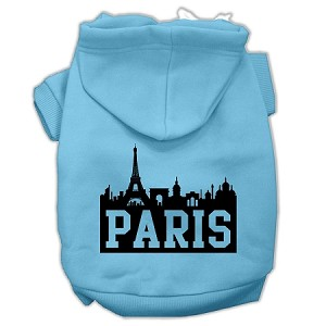 Paris Skyline Screen Print Pet Hoodies Baby Blue Size XXL (18)