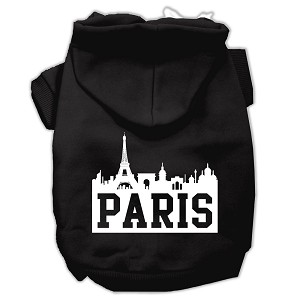 Paris Skyline Screen Print Pet Hoodies Black Size Lg (14)