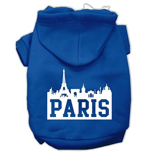 Paris Skyline Screen Print Pet Hoodies Blue Size XL (16)