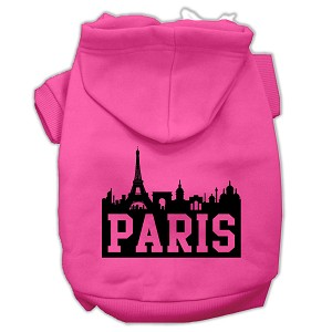 Paris Skyline Screen Print Pet Hoodies Bright Pink Size Med (12)