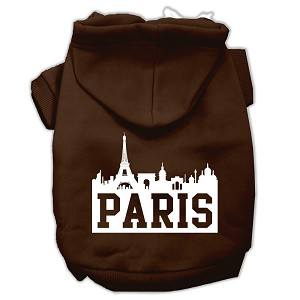 Paris Skyline Screen Print Pet Hoodies Brown Size XS (8)