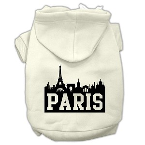 Paris Skyline Screen Print Pet Hoodies Cream Size XS (8)