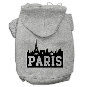 Paris Skyline Screen Print Pet Hoodies Grey Size XXXL (20)