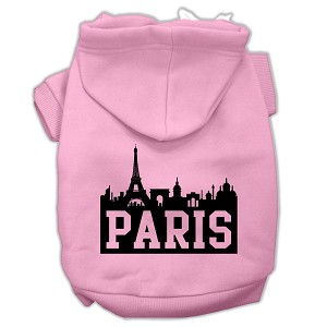 Paris Skyline Screen Print Pet Hoodies Light Pink Size XXL (18)