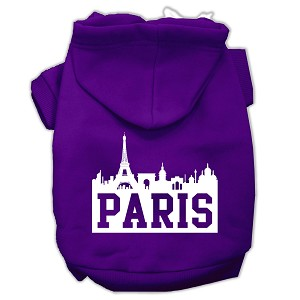 Paris Skyline Screen Print Pet Hoodies Purple Size XL (16)