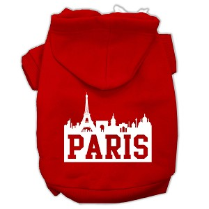 Paris Skyline Screen Print Pet Hoodies Red Size XXXL (20)