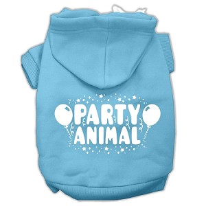 Party Animal Screen Print Pet Hoodies Baby Blue Size XXXL (20)