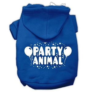Party Animal Screen Print Pet Hoodies Blue Size XS (8)