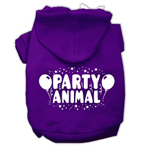 Party Animal Screen Print Pet Hoodies Purple Size Sm (10)