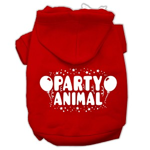 Party Animal Screen Print Pet Hoodies Red Size Sm (10)