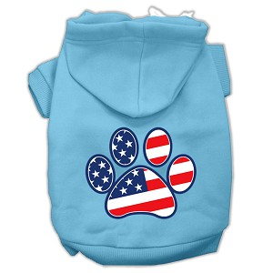 Patriotic Paw Screen Print Pet Hoodies Baby Blue XL (16)