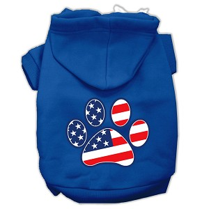 Patriotic Paw Screen Print Pet Hoodies Blue Size XXL (18)