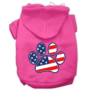 Patriotic Paw Screen Print Pet Hoodies Bright Pink Size XS (8)