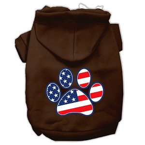 Patriotic Paw Screen Print Pet Hoodies Brown XS (8)