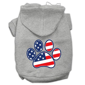 Patriotic Paw Screen Print Pet Hoodies Grey XXL (18)