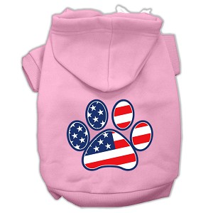 Patriotic Paw Screen Print Pet Hoodies Light Pink Size M (12)