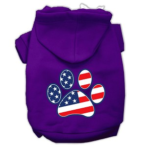 Patriotic Paw Screen Print Pet Hoodies Purple XL (16)