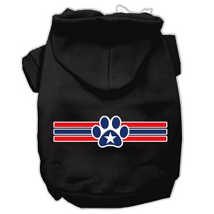 Patriotic Star Paw Screen Print Pet Hoodies Black Size Med (12)