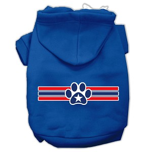 Patriotic Star Paw Screen Print Pet Hoodies Blue Size Sm (10)