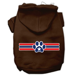 Patriotic Star Paw Screen Print Pet Hoodies Brown Size XXXL (20)