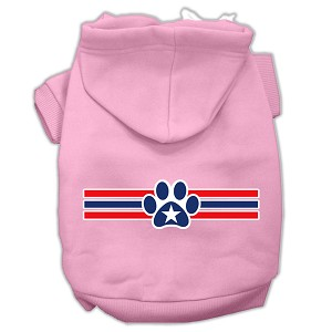 Patriotic Star Paw Screen Print Pet Hoodies Light Pink Size XXL (18)
