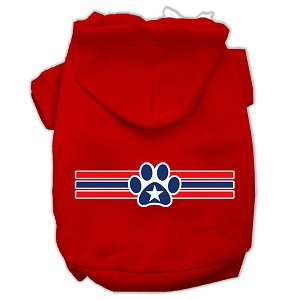 Patriotic Star Paw Screen Print Pet Hoodies Red Size XS (8)