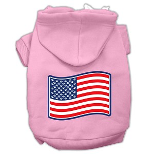 Paws and Stripes Screen Print Pet Hoodies Light Pink Size XL (16)