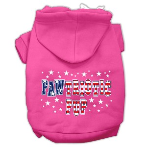 Pawtriotic Pup Screen Print Pet Hoodies Bright Pink Size XS (8)