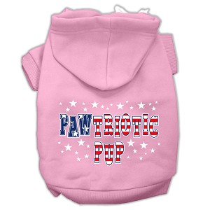 Pawtriotic Pup Screen Print Pet Hoodies Light Pink XXL (18)