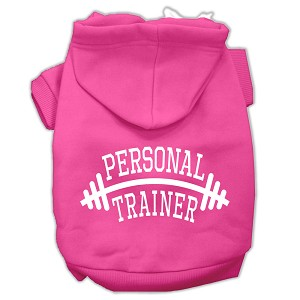 Personal Trainer Screen Print Pet Hoodies Bright Pink Size Lg (14)