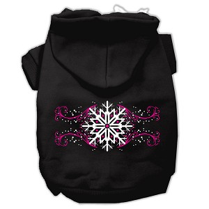 Pink Snowflake Swirls Screenprint Pet Hoodies Black Size M (12)