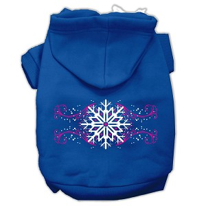 Pink Snowflake Swirls Screenprint Pet Hoodies Blue Size M (12)