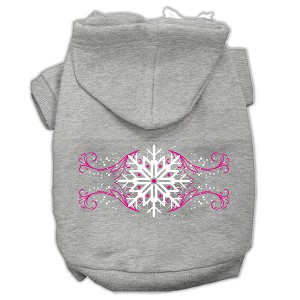 Pink Snowflake Swirls Screenprint Pet Hoodies Grey Size XXXL (20)