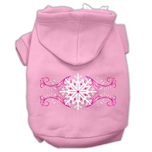Pink Snowflake Swirls Screenprint Pet Hoodies Light Pink Size S (10)