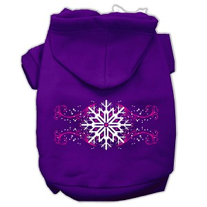 Pink Snowflake Swirls Screenprint Pet Hoodies Purple Size L (14)