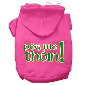 Pog Mo Thoin Screen Print Pet Hoodies Bright Pink Size Med (12)