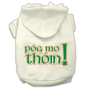 Pog Mo Thoin Screen Print Pet Hoodies Cream Size XS (8)