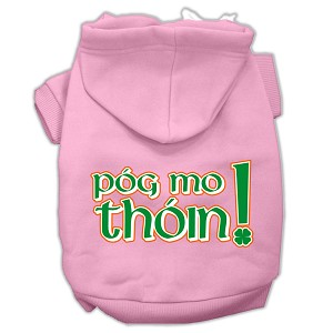 Pog Mo Thoin Screen Print Pet Hoodies Light Pink Size XXXL (20)